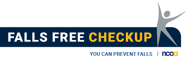 """2020 Falls Prevention logo with tag line, """"Falls Free Checkup"""". Click to go to fee 12 question falls risk assessment"""